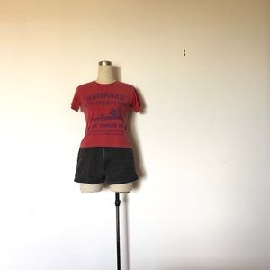 Malibu Shirts - Red Cropped Hawaiian T-Shirt